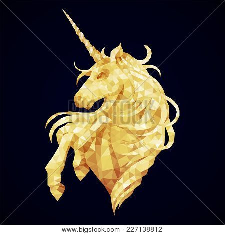 Cute Graphic Low Poly Unicorn In Golden Colors. Vector Fantasy Art
