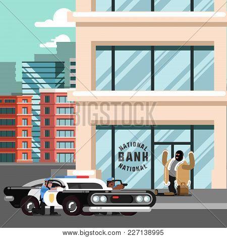 Police Apprehend A Criminal. Vector Illustration, Eps 10