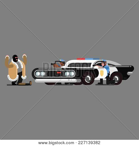 Police Officers Embattled Near Car And Aim At The Criminal With Shotgun. Vector Illustration, Eps 10