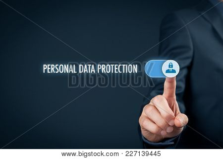 Personal Data Protection Concept. Businessman Activate Sensitive Personal Data Protection.
