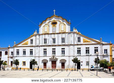 Portimao, Portugal - June 7, 2017 - Church Of The College (igreja Do Colegio) In Republic Place With