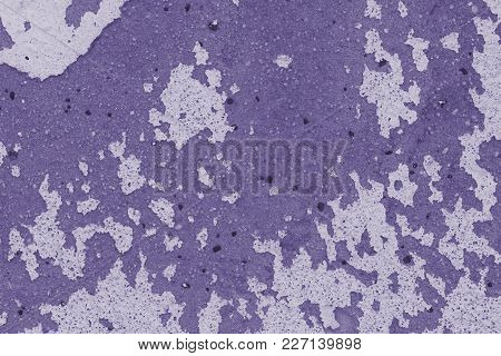 Old Protective Coating Walls (plaster) - Background Close Up (photo Is Toned In Ultra Violet)