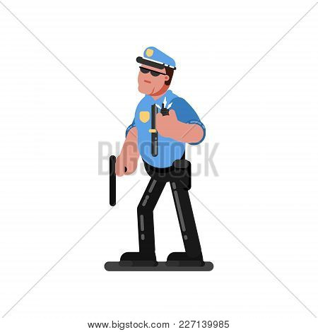 Police Officer With Truncheon Listen To Dispatcher. Vector Illustration, Eps 10