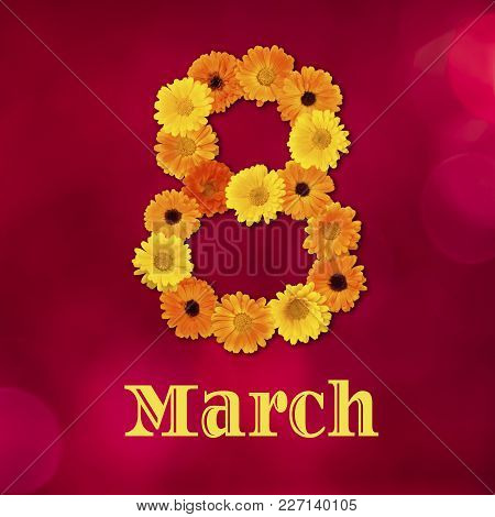 Beautiful Colorful Greeting Card For March 8, International Women Day. Red Background With Number 8