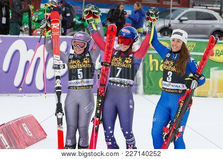 Mikaela Shiffin, Sofia Goggia And Tessa Worley At Fis Ski World Cup Giant Slalom In Kranjska Gora On