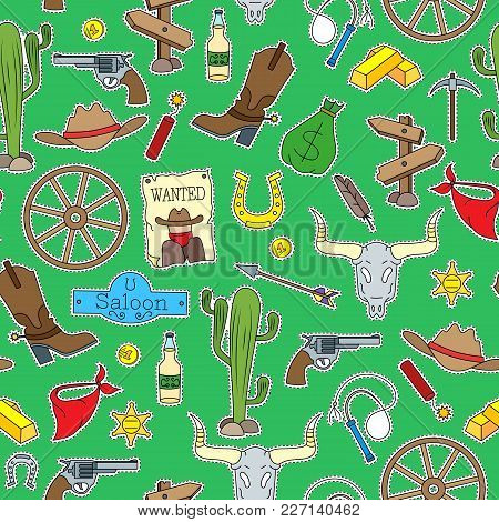Seamless Pattern On The Theme Of The Wild West, Patch Icons  On Green  Background