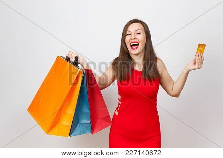 Pretty Impressive Fashionable Young Brown-hair Woman In Red Dress Holding Credit Card, Multi Colored
