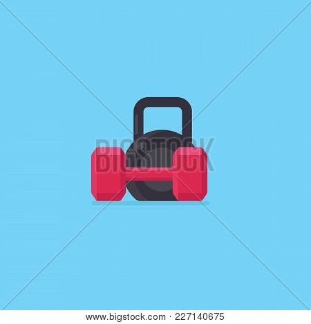 Flat Design Of Black Kettlebell And Red Dumbbell Illustration. Healthy Lifestyle Concept. Fitness An
