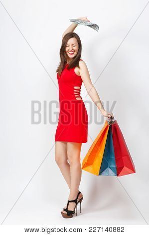Full Length Attractive Glamour Fashionable Woman In Red Dress Holding Cash Dollars, Multi Colored Pa