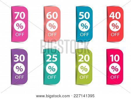 Discount. Percents Sale Off Vector Flat  Graphic.