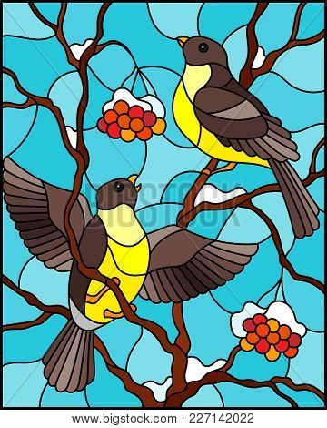 Illustration In Stained Glass Style With A Pair Of Birds Titmouses On Snow-covered Mountain Ash Bran