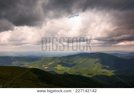 Gorgeous Cloudy Sky Over The Mountains. Beautiful Landscape In Summer Time