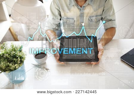 Improvement Graph On Virtual Screen. Business And Technology Concept