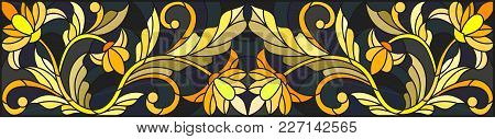 Illustration In Stained Glass Style With Floral Ornament ,imitation Gold On Dark Background With Swi