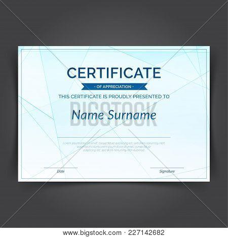 Geometrical Pattern Hi-tech Futuristic Certificate Layout Design. Blue Line Pattern Background Templ