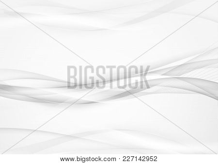 Grey Abstract Smooth Smoke Lines Background. Vector Illustration