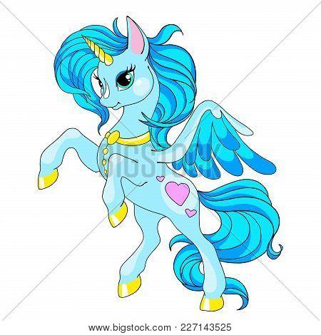 Fairy Tale Character Horse. Cartoon Unicorn. Blue Unicorn With Long Mane. Vector Isolated. Character