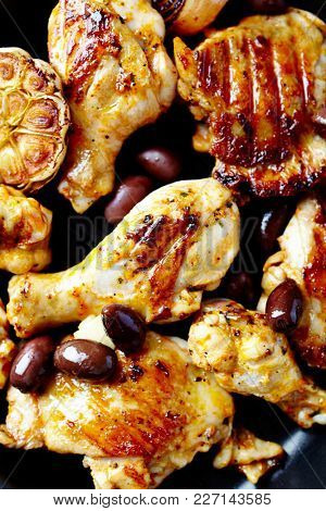 Roast Chicken Pieces with Olives and Herbs