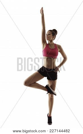 Fitness Woman Raises Arm Balancing On Led, Sport Aerobics Workout Exercise, People Isolated Over Whi
