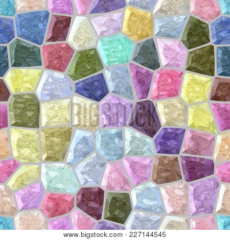 Surface Floor Marble Mosaic Pattern Seamless Background With Gray Grout - Light Pastel Color Spectru