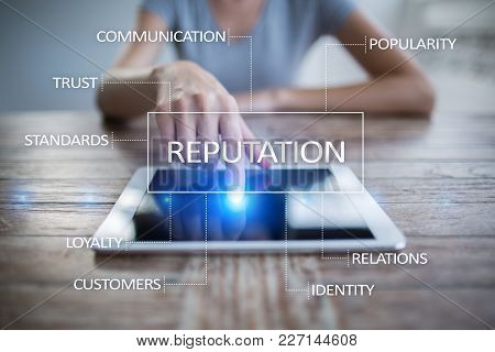 Reputation And Customer Relationship Business Concept On Virtual Screen