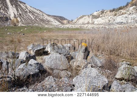 Valley With Beautiful View Of Limestone Quarry. Can Be Used As Wallpaper For A Monitor.