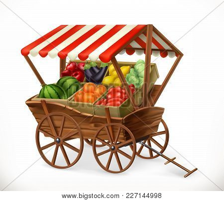 Fresh Produce Market. Cart With Fruits And Vegetables, 3d Vector Icon