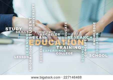 Education Words Cloud On The Virtual Screen
