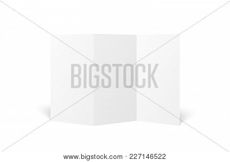 Vector Blank White Trifold Leaflet Opened On White Background. Top View. Zigzag Folded Paper Sheet I