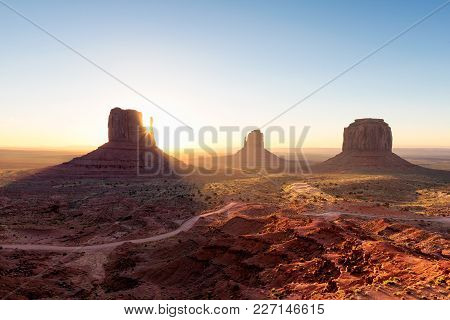 Sunrise At Monument Valley , Arizona Landscape At Sunrise, Usa