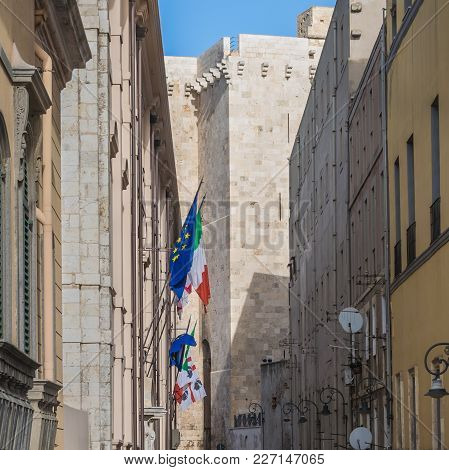 View Of The Elephant Tower Torre Dell`elefante In Cagliari Sardinia With European, Italian And Sardi
