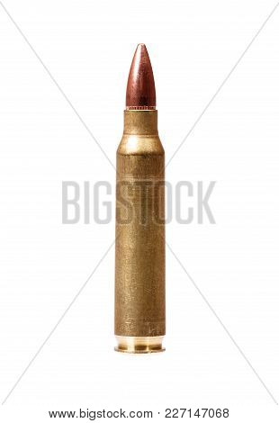 Single Rifle Bullet Isolated On White. High Resolution Photo.