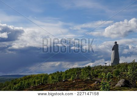 Murmansk, Russia-june 5, 2015: The Monument To The Soviet Soldier Standing On A Hill With Views Of K