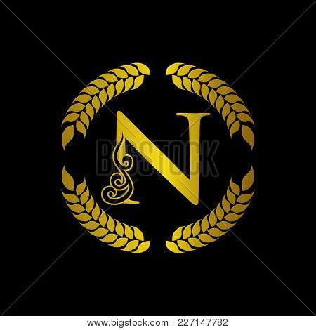 The Monogram A Letter N In An Elegant Frame. N Golden Template For Cafe Bars Boutiques Invitations.