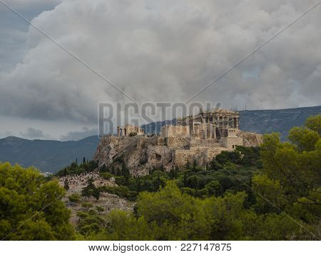 Acropolis From Filopappou Hill View Point In A Cloudy Day