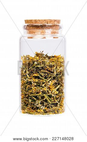 Dried Melilotus Officinalis Yellow Sweet Clower In A Bottle With Cork Stopper For Medical Use.