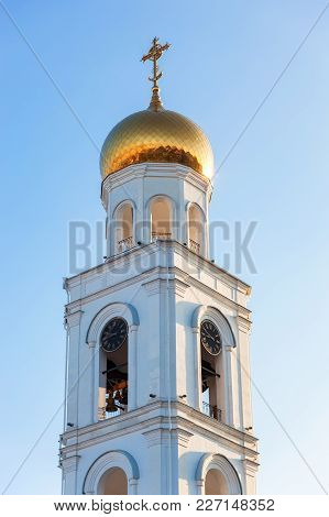 Russian Orthodox Church. Bell Tower Of The Iversky Monastery In Samara, Russia