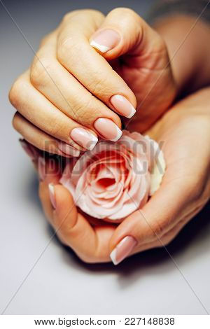 French Nail Extensions. Women At Beauty Parlour Doing Classic Manicure.