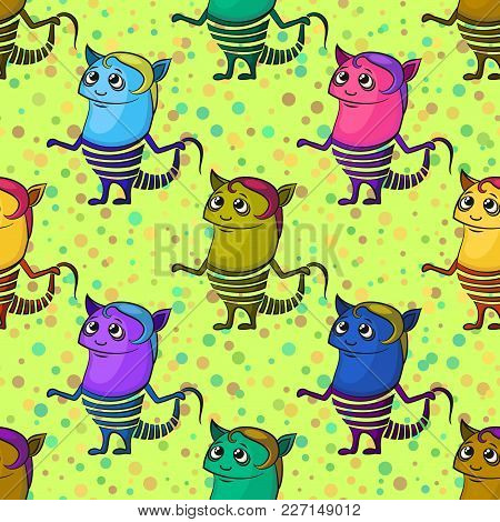 Seamless Background For Your Design With Cartoon Monsters, Colorful Tile Pattern With Cute Funny Cha