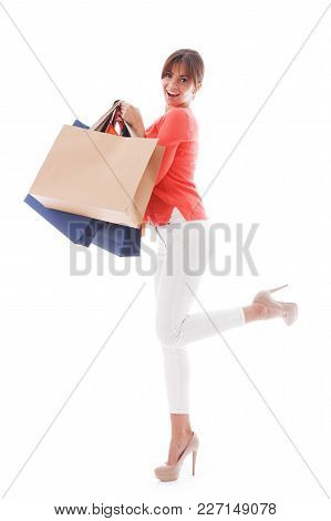 Woman With Shopping Bags Isolated On White Background