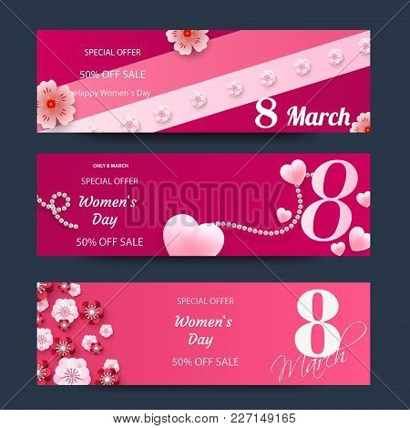 Set Of Horizontall Banners For The International Women's Day. Flyers March 8 With The Decor Of Flowe