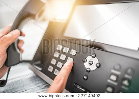 Communication Support, Call Center And Customer Service Help Desk. Using A Telephone Keypad.