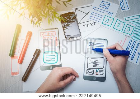 Designer Woman Drawing Website Ux App Development. User Experience Concept.
