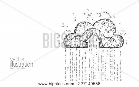 Cloud Computing Online Storage Low Poly. Polygonal Future Modern Internet Business Technology. White