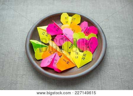 Multicolored Bright Paper Origami Hearts With Text Love You, Kiss, Baby, Be Mine. Many Pink, Orange,