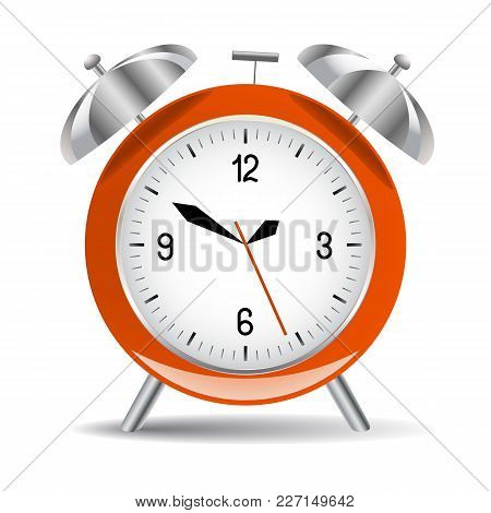 Red Alarm Clock With Dial, Bells And Shade