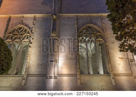 Palma De Mallorca Lonja Night Lighting. Majorca Gothic Architecture. Market Of The Gothic Civil Wind