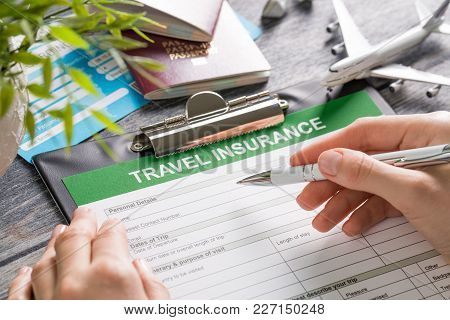 Travel Agent Ticket Safe Plan Trip Holiday Model Insurance Money Concept Air Form Business Security