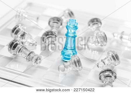 Chess Blue Business Success, Lof Eadership Concept.