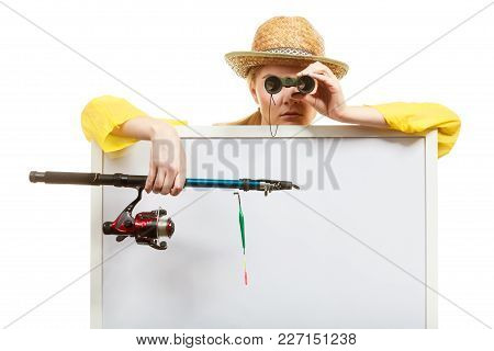 Fishery, Spinning Equipment, Angling Sport And Activity Concept. Woman With Fishing Rod And Binocula